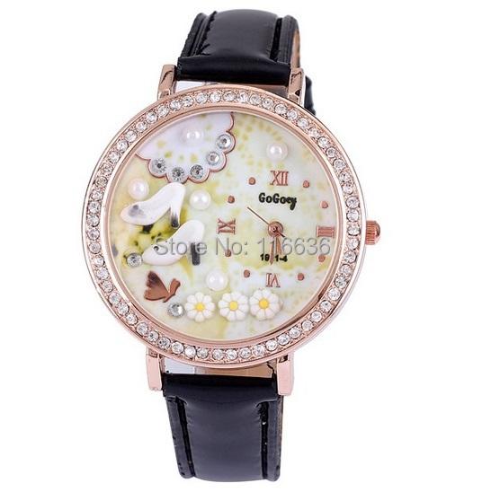 Mini 3d watch White Shoes Cinderella Girl rhinestone wristwatch women Korean analog quartz casual dress watch DIY clay(China (Mainland))