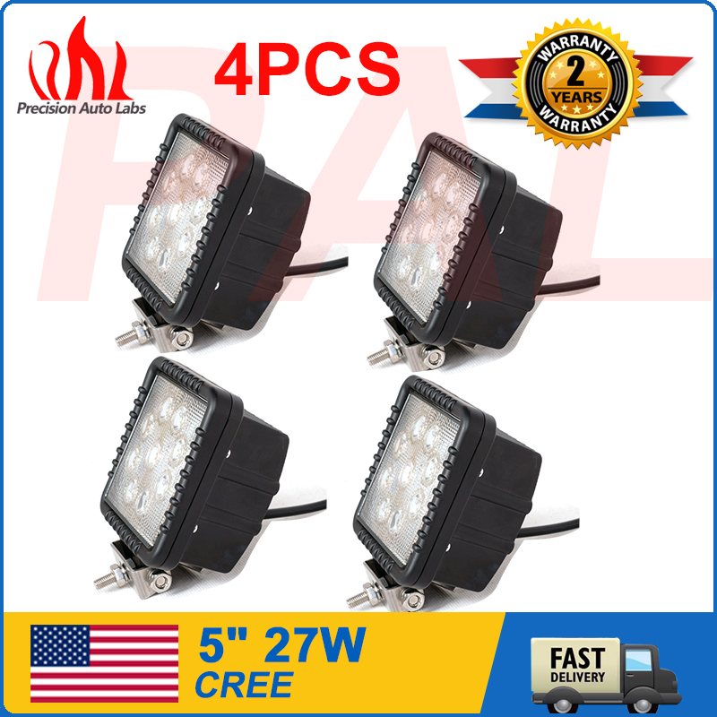 Factory Directly Sale 4PCS Square 27W Offroad Led Work Light Led Daytime Running Lights Led Work Lights For Tractors(China (Mainland))