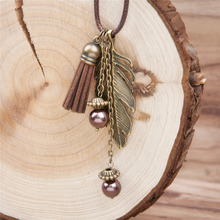 Handmade Fashion Tassel Pendant Necklace Feather PU Necklace Link Chain Bronze 46.5cm long brown 1 Piece 2016 fashion for women(China (Mainland))