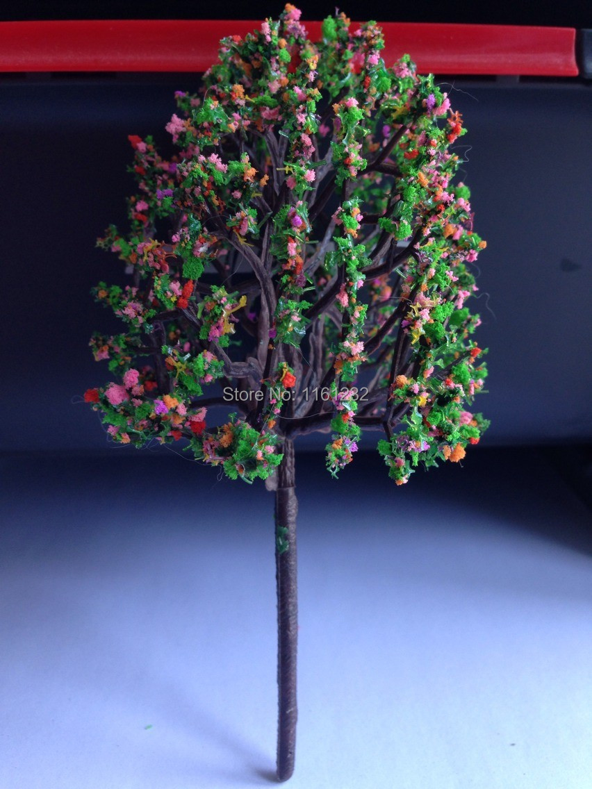 beautiful 80mm high plastic scale model flower trees for build materials(China (Mainland))