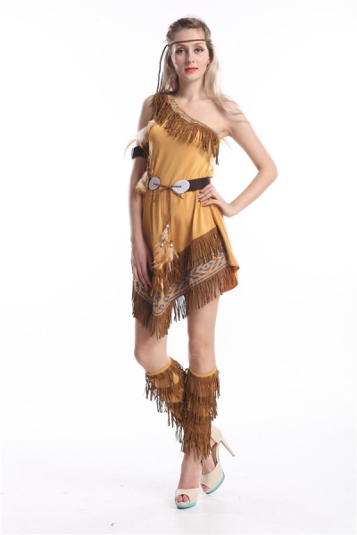 2015 nueva cosplay envío gratis ZY458 Ladies de lujo trajes de vestir Wild West Pocahontas Indian traje s-2xl(China (Mainland))