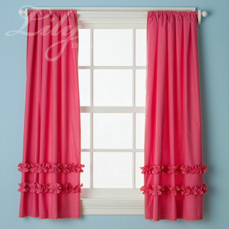 Buy hot pink ruffled curtain panels 100 for Where to buy curtain panels