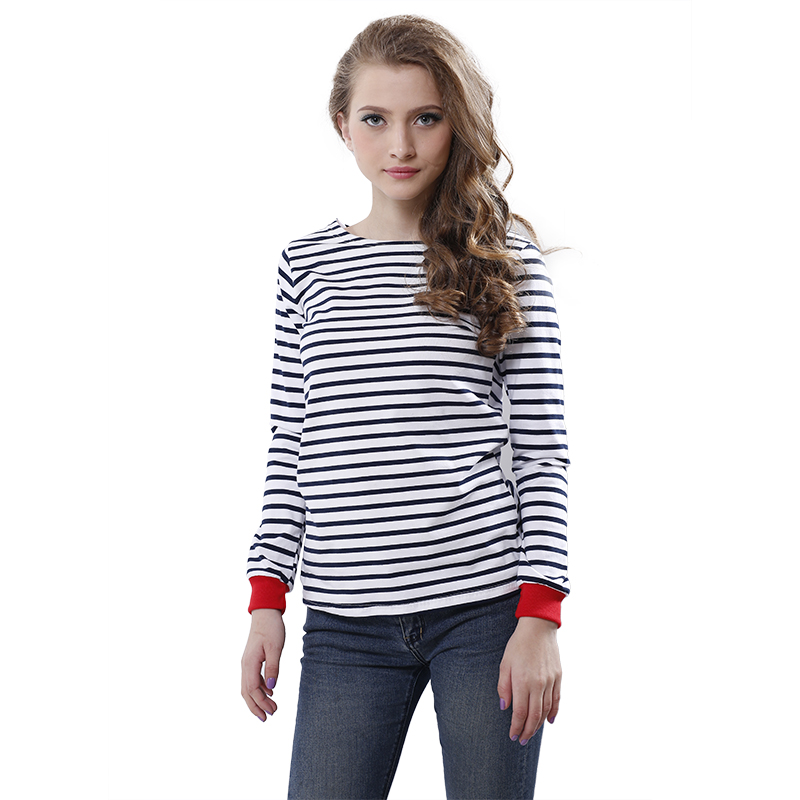 High quality new women 39 s tops o neck t shirt long sleeve for Black and white striped long sleeve shirt women