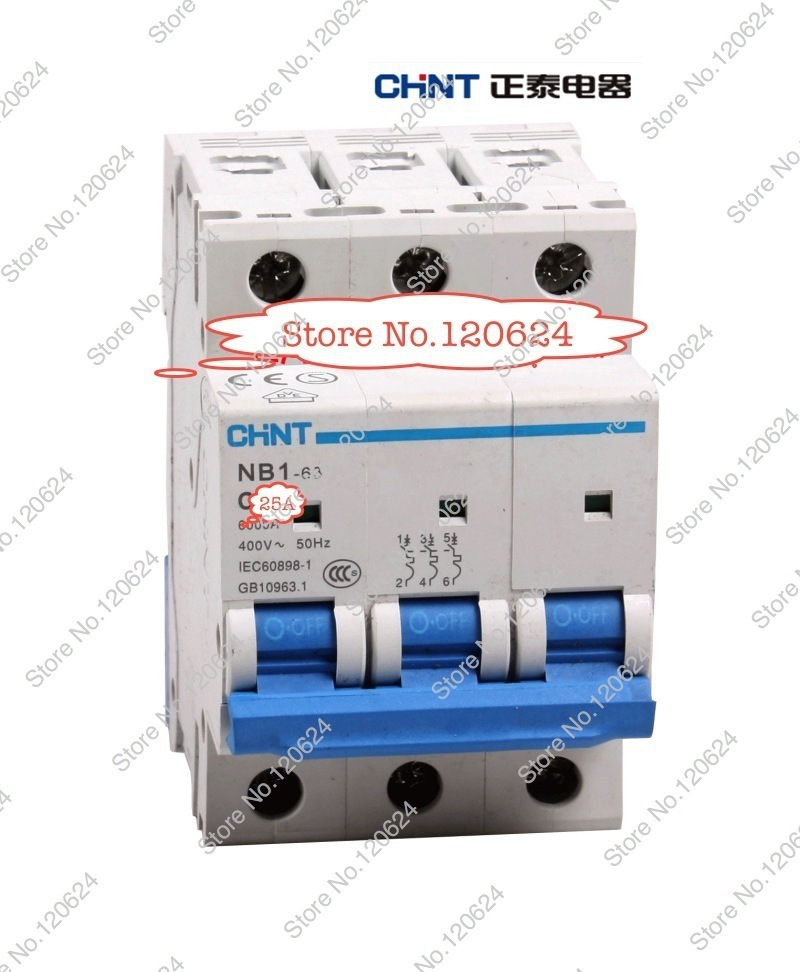 CHINT MCB NB1-63 C25A 3P low voltage mini miniature circuit breaker Modular DIN Rail motor protection CE  schneider<br><br>Aliexpress