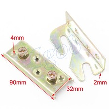 90mm x 32mm Brass Tone Screw Mounted Furniture Bed Hinge Connector Fitting 2PCS