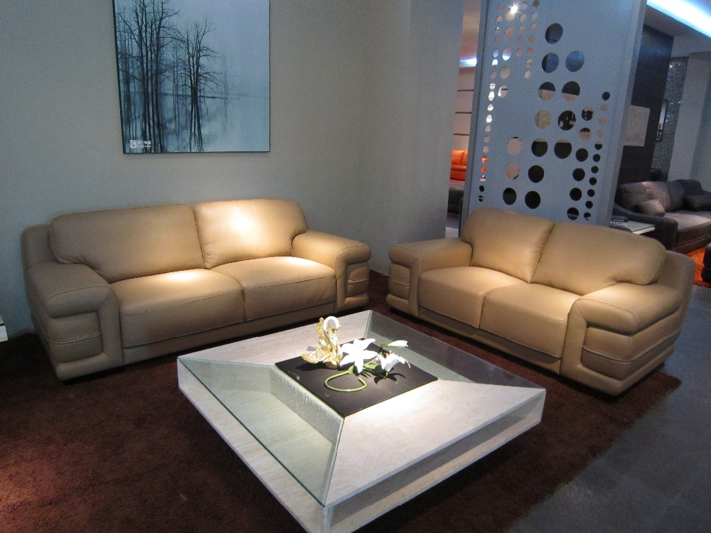 cow genuine/real leather sofa set living room sofa sectional/corner sofa set home furniture couch modern big size 2+3 seater(China (Mainland))