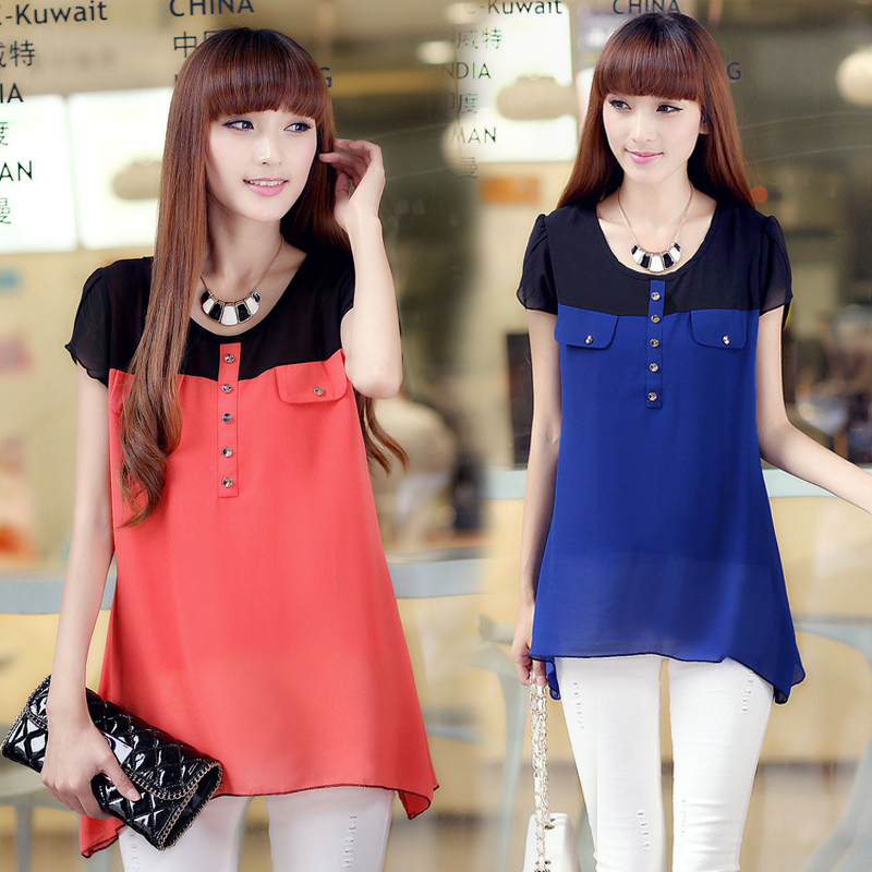 Summer 2015 plus size women thin breathable comfortable t-shirt - short-sleeved chiffon shirt female L ~ XXXXL Happiness Share store