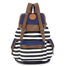 Cheap Products Women Girl Striped Canvas Backpack Leisure  School Backpacks For Teenagers Travel Rucksack(China (Mainland))