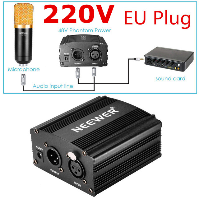 Neewer EU Plug 220V 1-Channel 48V Phantom Power Supply+Adapter+One XLR Audio Cable for Any Condenser Mic Recording Equipment