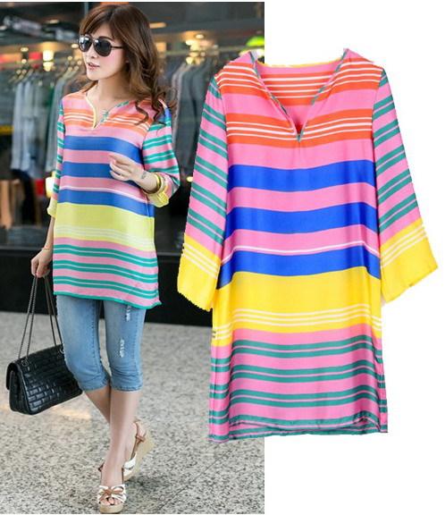 Fall 2015 women Rainbow Causal Dress with Sleeves Holiday Home Striped Big Size 5XL European Fashion romantic Tunics Clothing(China (Mainland))