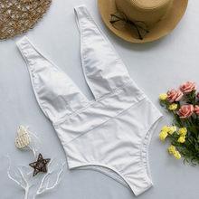 Peachtan Maillot De Bain Femme 2019 Baju Renang Wanita Baju Satu Potong Pakaian Renang Potong Tinggi Monokini Deep V-Leher Bikini Push lebih Tinggi(China)