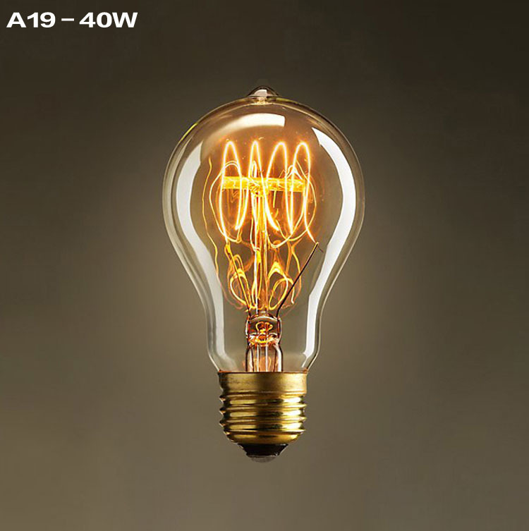 A19 Incandescent Bulbs Vintage Edison Light Bulbs E27 Antique Light Clear Glass 40W 120V/220V Edison Bulb Lamp Home Decoration(China (Mainland))