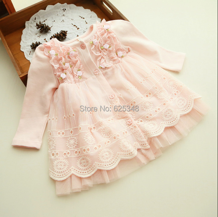 2016 Spring and autumn 0-2 yrs baby clothing floral lace lovely princess newborn baby tutu dress infant dresses vestido infantil(China (Mainland))