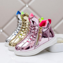 Girls Autumn 2015 New Sneakers High Top Non-slip Breathable Boys Casual Shoes Bright Golden Silver Children Boots Kids Baby's  (China (Mainland))