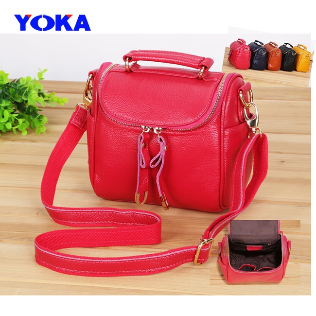 YOKA First layer cow leather handbag women fashion real cowhide tote lady solid bucket bag shoulder - KAYO Bag ( and OEM ! store)