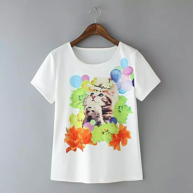 Summer Short Sleeve Colorful Cat Print T shirt Animal Flowers Balloon Printed Top Tees O neck White tshirt(China (Mainland))