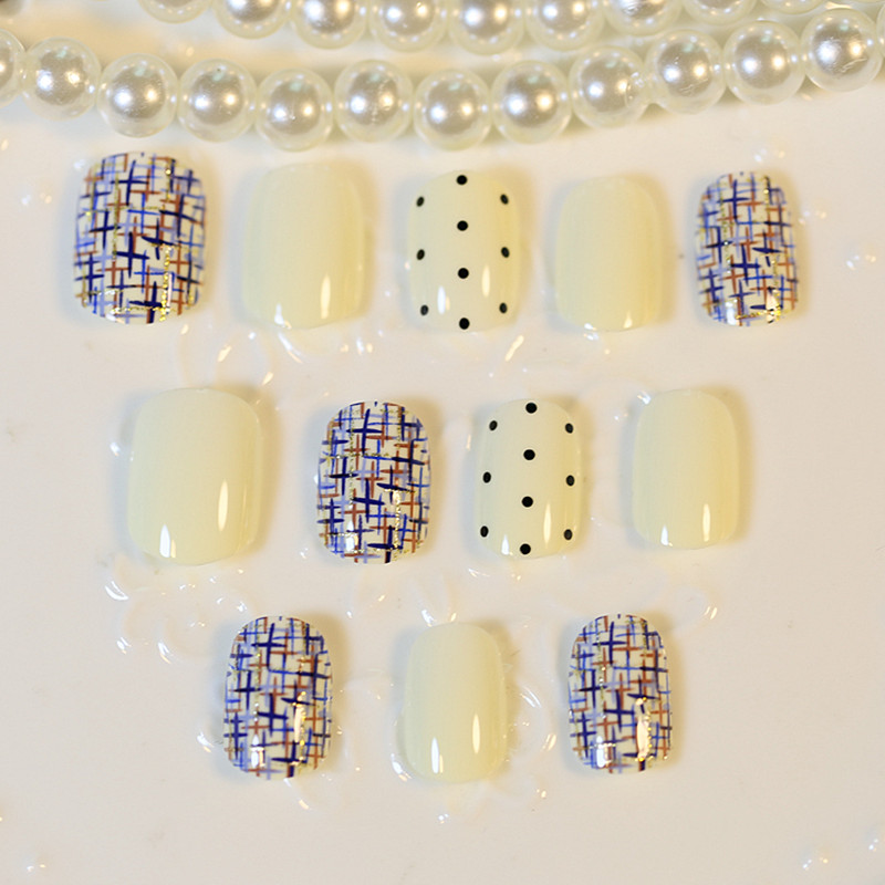 2016 High Qaulity Linen lines style mixed color Fake Nail Pure fresh natural joint Tips Square head short fake - the best service,the last price,Direct Manufacturer store