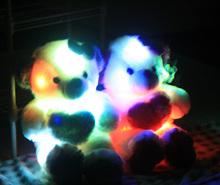 40cm flashing and colorful LED luminous bear, LED light pillow, light-emitting pillow plush bear doll holiday birthday gift(China (Mainland))