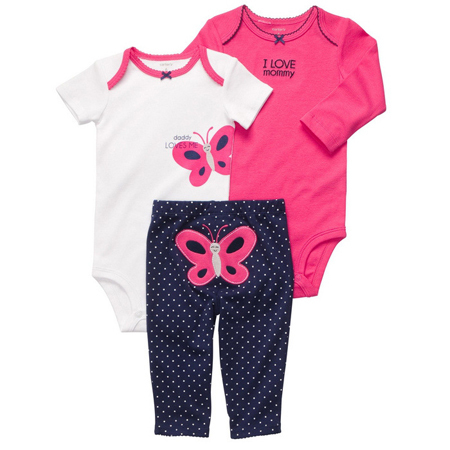 Baby Boys Girls Set 3pcs new born baby clothes Bodysuit+Pants Sets cheap baby boy clothes Set,baby set 0-24 months Free Shipping(China (Mainland))
