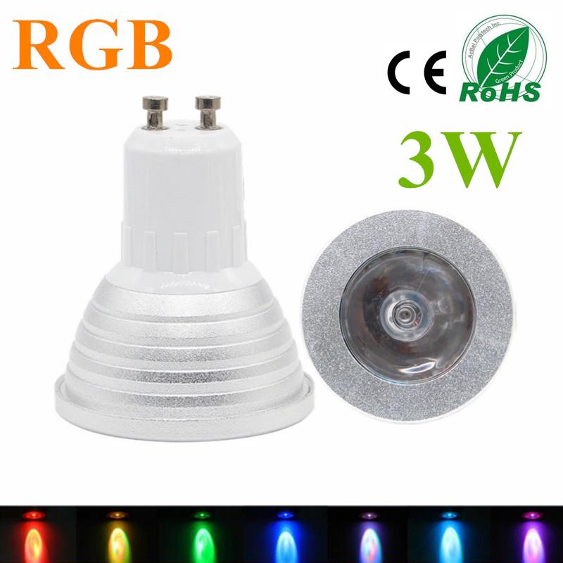 NEW RGB LED Spotlight GU10 3W Lampada LED Lamp 85 265V Spot Light Bombillas LED Bulb RGB Candle     -> Lampada Led Rgb
