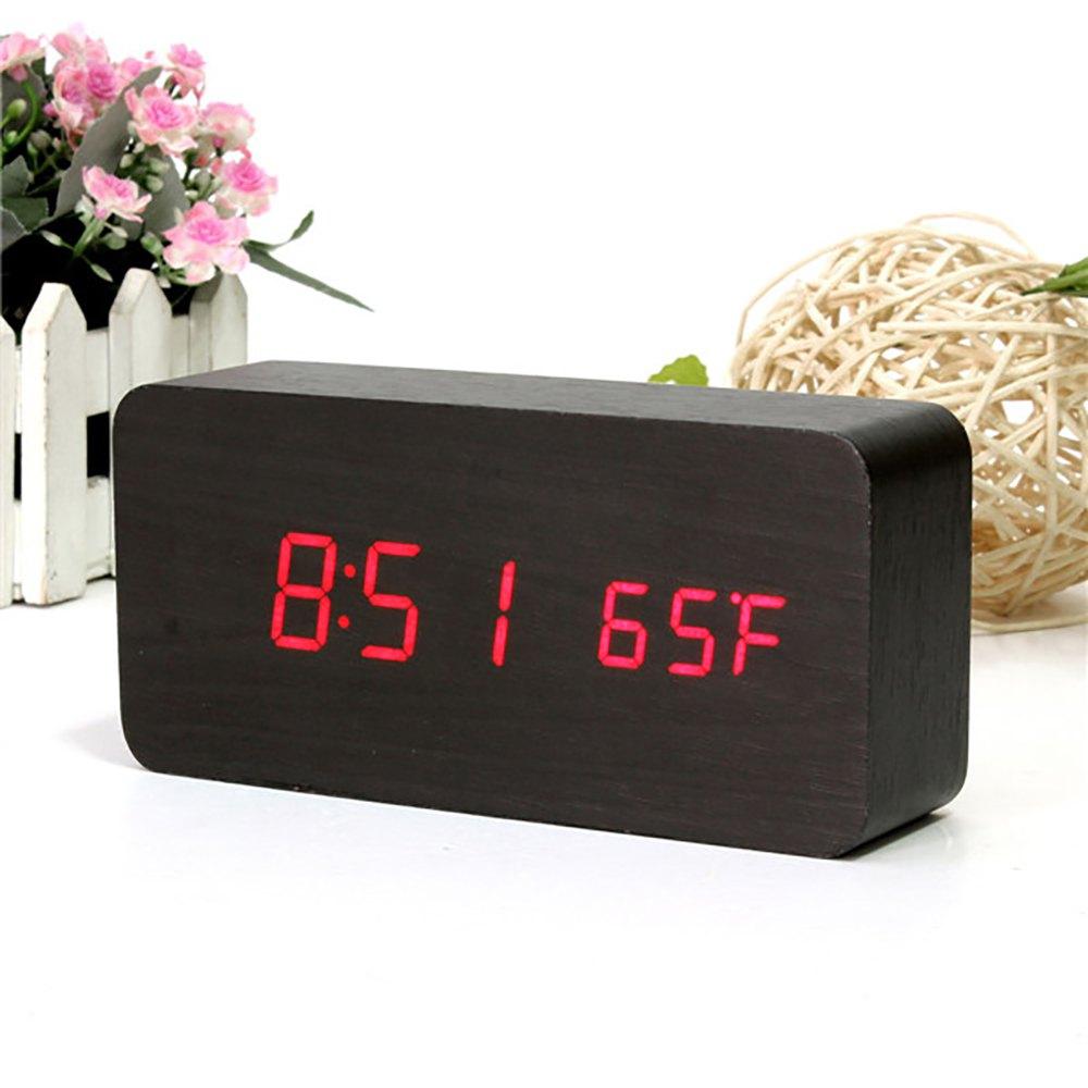 2016 New Best Wooden Alarm Clock Sound Control Digital