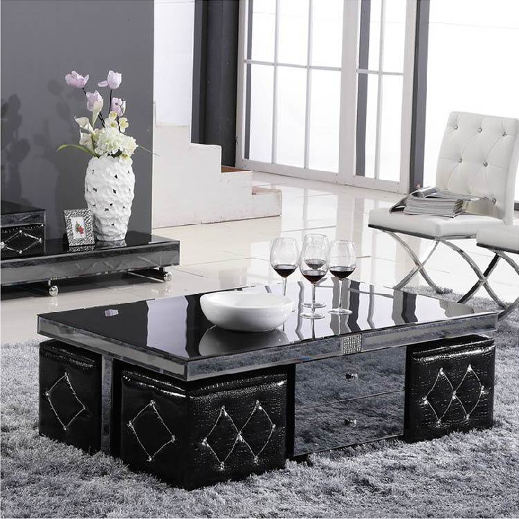 Mirror Glass Coffee Table Storage Tea With Stool Four