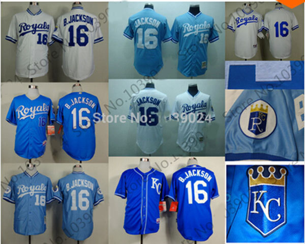 New 16 Bo Jackson Jersey Royals Baseball Retro 1980 B.Jackson Kansas City Royals Jersey 1989 White Light Blue Top Seller
