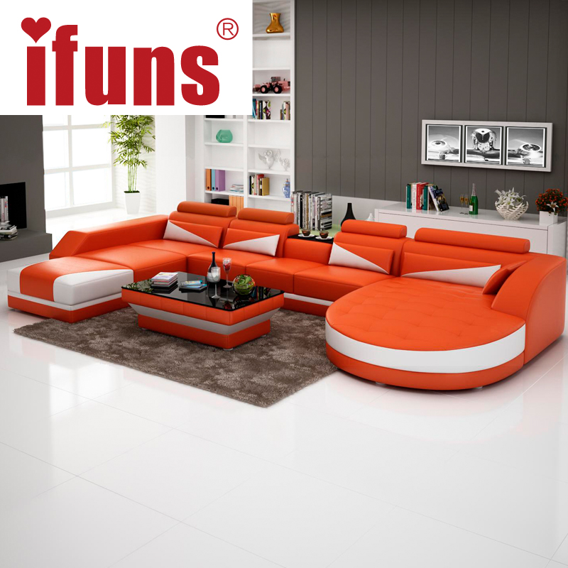 IFUNS Modern Luxury U Shaped Design Sofa Set Genuine Leather Sofa Sectiona