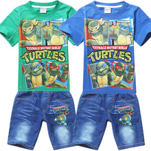 Retail 2015 Teenage Mutant Ninja Turtles Boys Clothing Sets Summer Kids Boys Clothes Short Sleeve Shirt+Denim Shorts(China (Mainland))