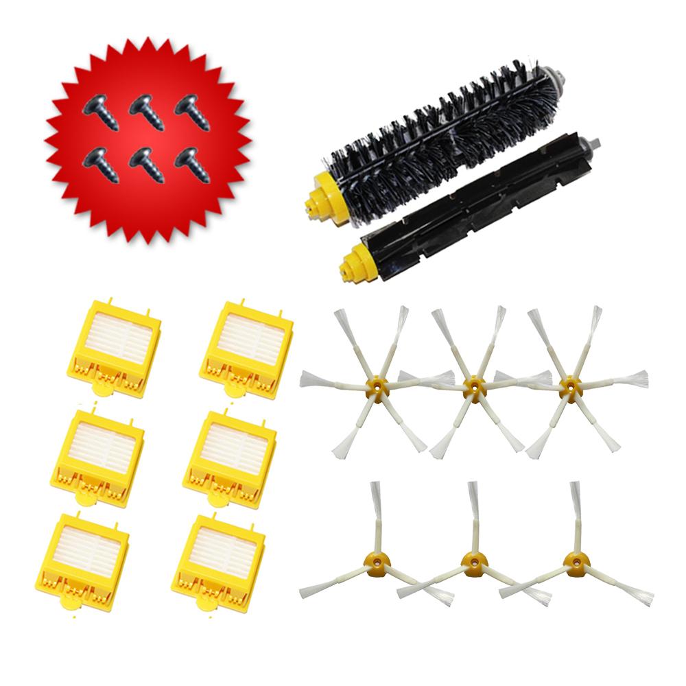 14pcs/lot 6*HEPA Filter + 12*Side Brush+Bristle and Flexible Beater Brush for iRobot Roomba 760 770 780 790 Vacuum Cleaner(China (Mainland))
