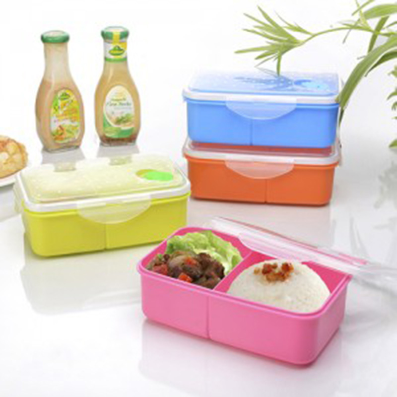 lunch box tableware dinnerware food container bento dots rectangle double lattice sealed boxes. Black Bedroom Furniture Sets. Home Design Ideas