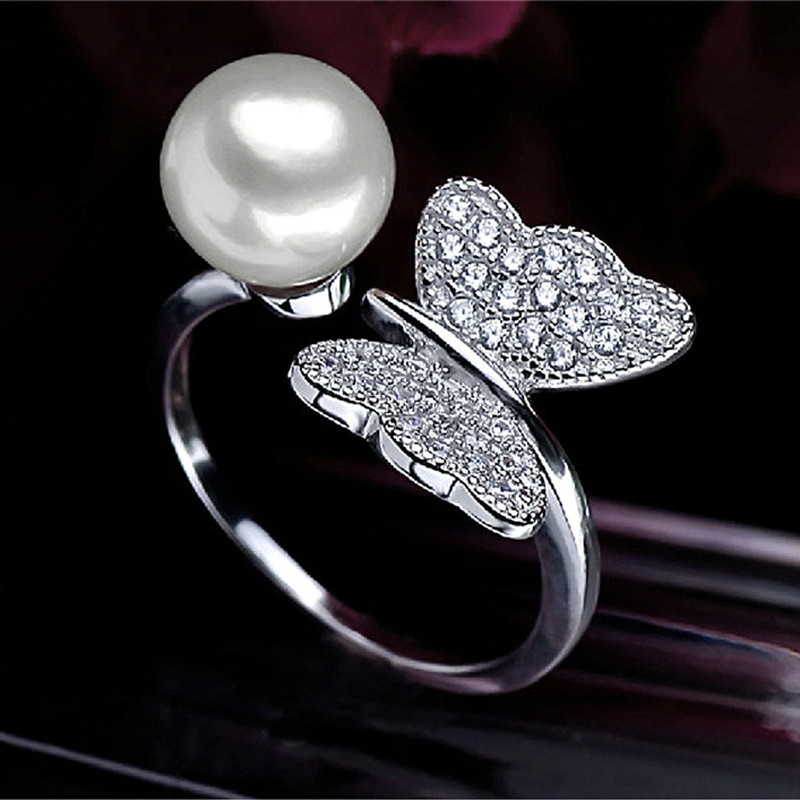 Fashion 2015 popular 925 sterling silver natural freshwater pearl opening design female perfect bow ring men cologne brands(China (Mainland))