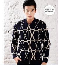 Korean New Style Fashion  Autumn Men  Cardigan Knitting Slim Sweater Big yards  Super warm Thick  V-neck Coat F019(China (Mainland))