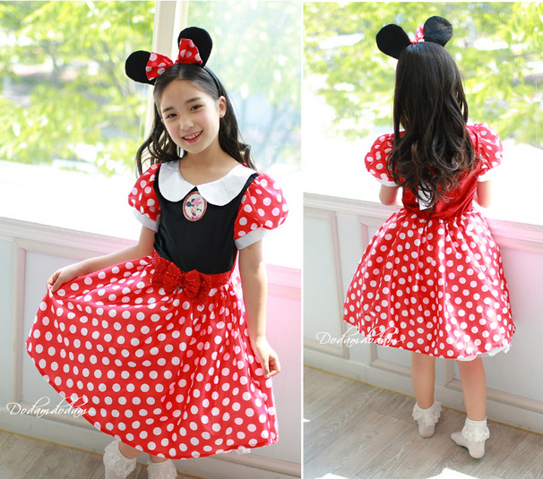 New girls Minnie Mouse dress Party Christmas Costume Ballet Dress 2-10Y Kids free shipping(China (Mainland))