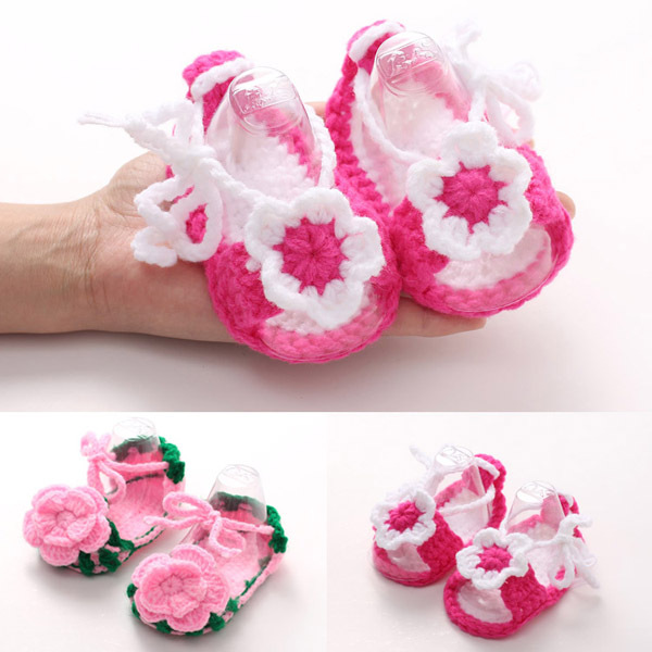 Crochet Baby Sandals Handmade Crocheted Girl Shoes with Flower for Spring and Summer Bebe Slippers 5 Pairs XZ051<br><br>Aliexpress