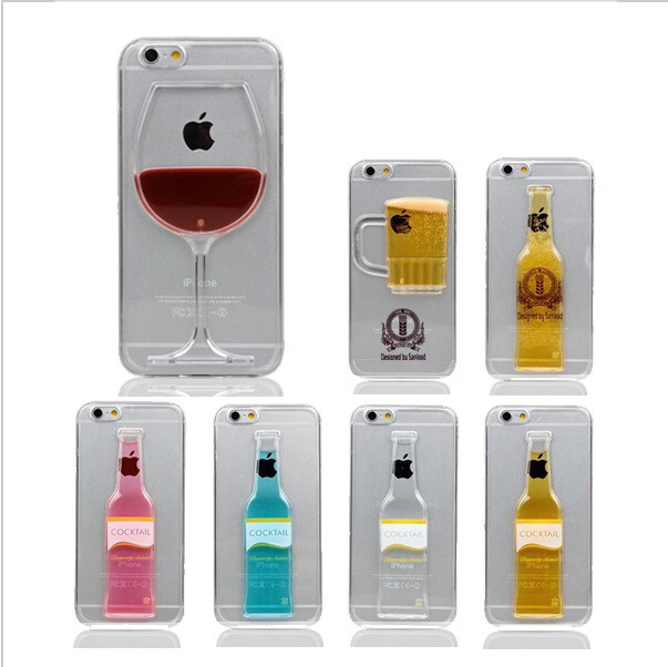 New Fashion Luxury Red Wine Cup Beer Bottle Cocktail Liquid Transparent Case Cover For Apple iPhone 4 4s phone back cover(China (Mainland))