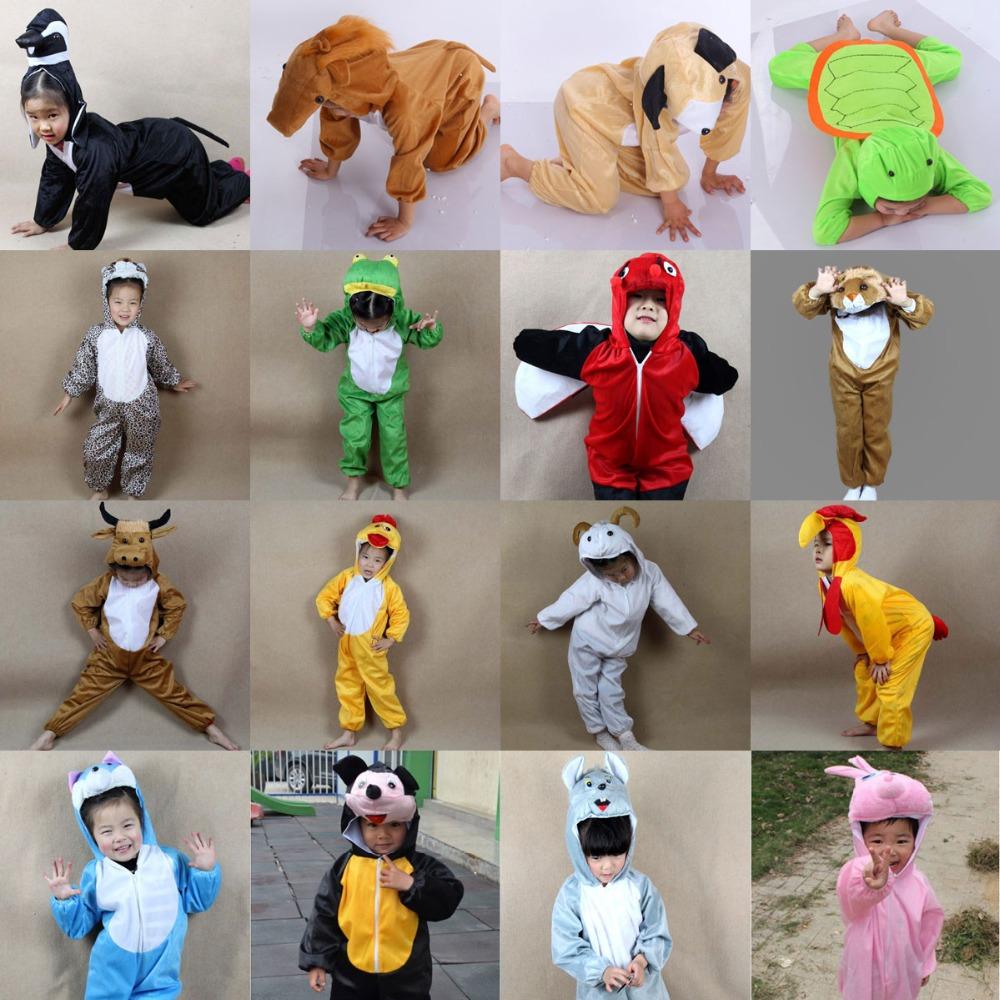 Cartoon Kinder Kinder Tiere Kostüme Cosplay Kleidung Overall Kaninchen Maus Leopard Cat Halloween Tier Kostüm für Junge Mädchen(China (Mainland))