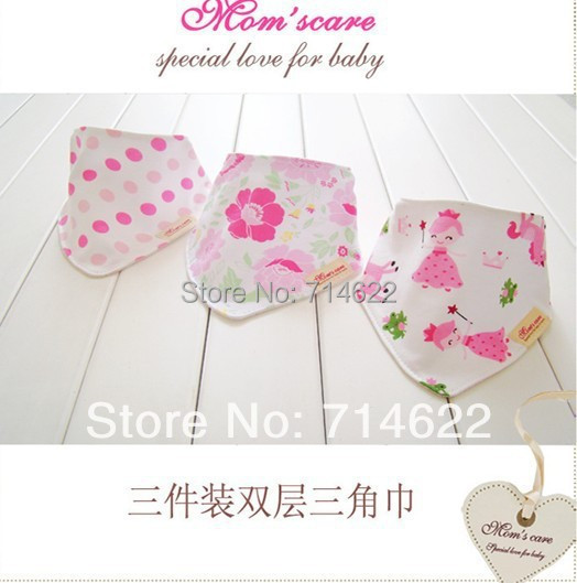 Retails (New arrival) 3pcs set baby bibs 3designs mixed infant saliva towel 100% cotton Original brand with free shipping(China (Mainland))