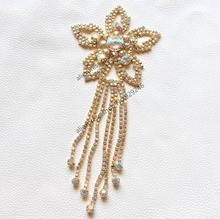 2pcs lot Shiny Sewing On crystal Rhinestone Applique with tassel fringe  Silver gold ab Crystal Color DIY Wedding Evening Dress 35f7c722ea29