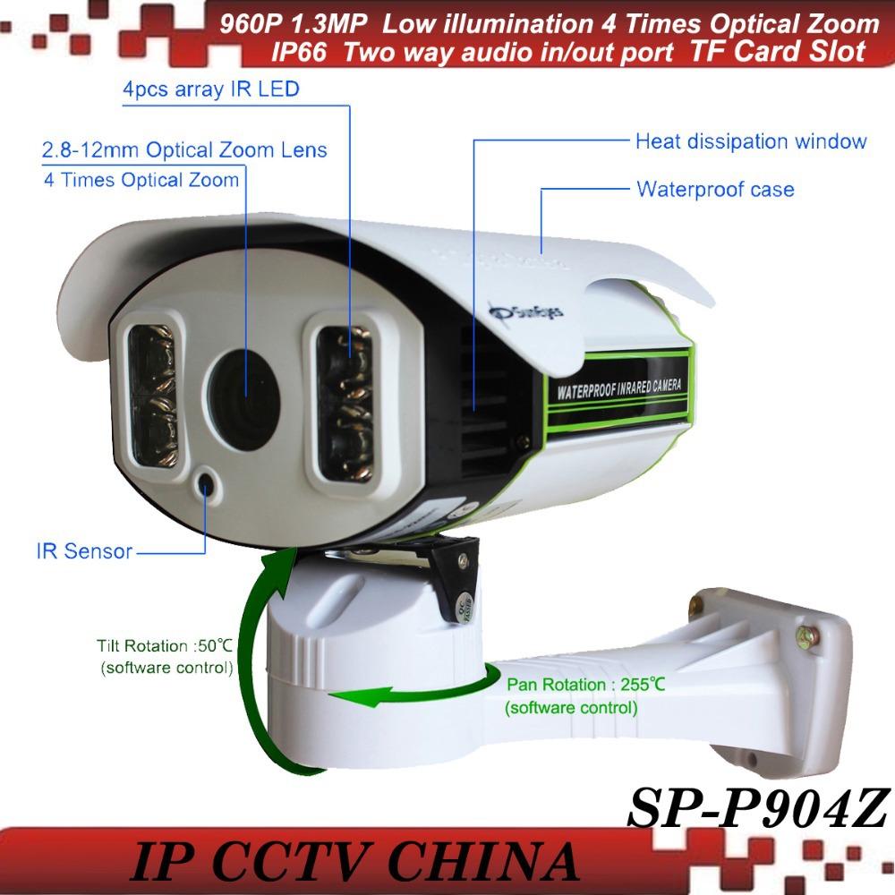 SunEyes SP-P904Z ONVIF IP Camera Outdoor PTZ 960P 1.3MP HD with TF/Micro SD Slot Pan/Tilt/Zoom Array IR Night 100M Low Lux<br><br>Aliexpress