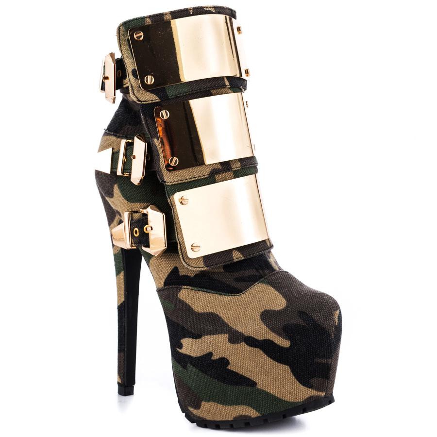 fashion stiletto high heel boots platform camouflage ankle
