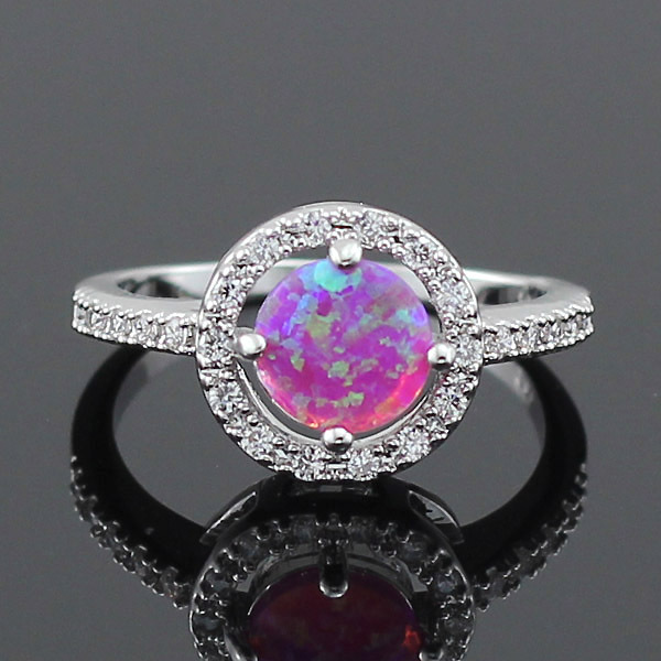 Wholesale Retail Adorable Pink Fire Opal Stones CZ Claw Inlay Prong Setting Women Rings Size 6 7 8 9(China (Mainland))
