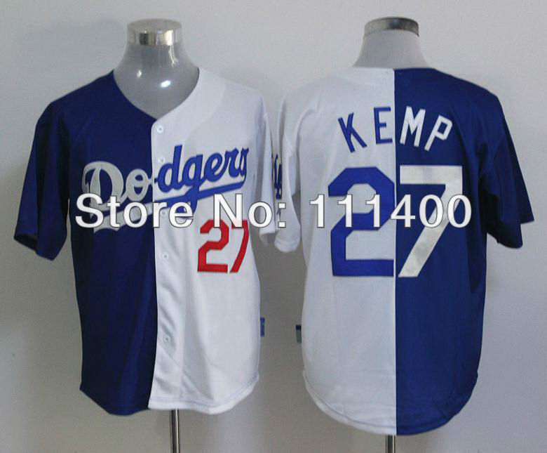 2013 Baseball Jersey Los Angeles Dodgers #27 Matt Kemp Blue/White Split Embroidery logos Size:48-56 can mix order(China (Mainland))