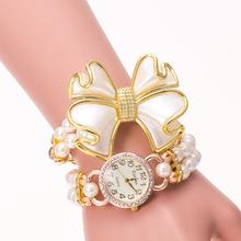 2015 nuevos relojes de lujo perlas alta calidad relojes moda mujeres reloj pulsera capas de liquidación arco reloj de cuarzo