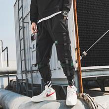 2019 homem retalhos macacão japonês streetwear joggers calças homens designer harem calças de carga cinto de hip hop(China)