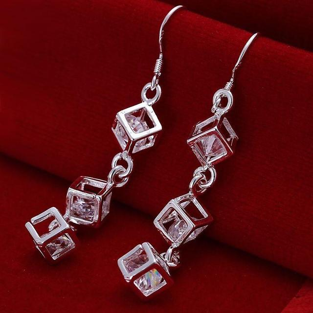 Wholesale silver square zircon crystal drop earring  brincos de prata women jewelry