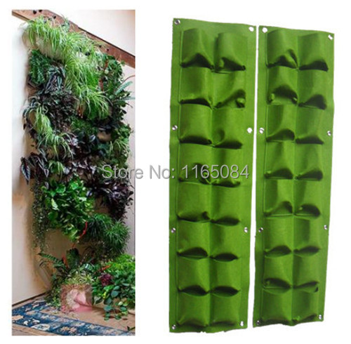 16 pockets Green Grow Bag Wall Hanging Planter Vertical Garden 8 Pockets Vegetable Living Garden Bag Home Supplies