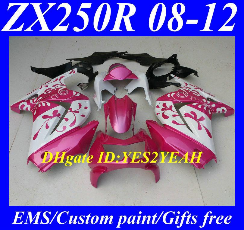 Injection Mold Fairing kit KAWASAKI Ninja ZX250R ZX-250R 2008 2012 ZX 250R EX250 08 09 10 11 12 Flowers pink white Fairings - FAIRING KIT Co. Ltd store