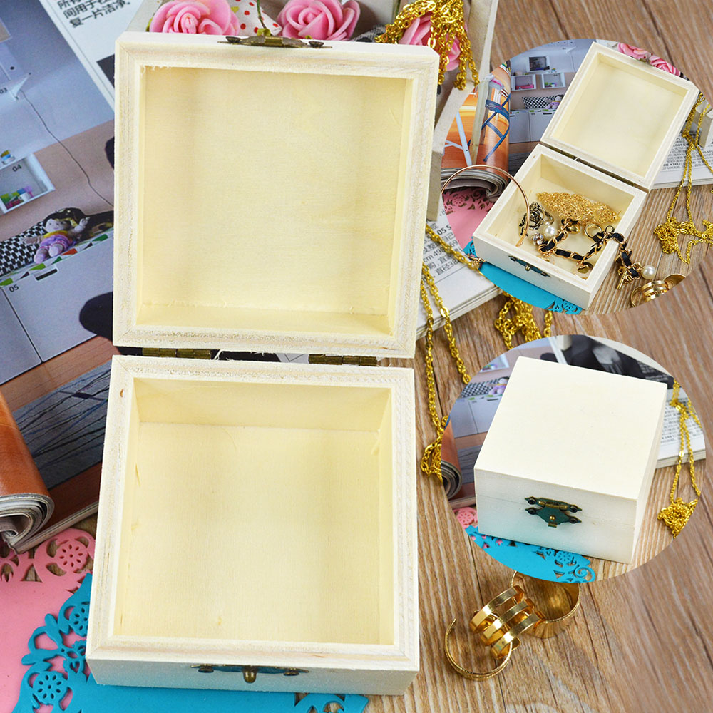 Wooden crafts wood jewelry box square shape mud base for Craft boxes for children