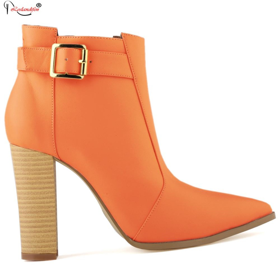 plus size 42 fashion genuine leather ankle boots high heel
